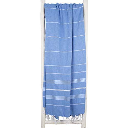 ZusenZomer Fouta Toalla Hammam XXL 160x215 Azul - Toalla Playa Turco Grande y Ligero - 100% Algadón Hecho a Mano - Comercio Justo Toallas Hammam (Azul Marino)