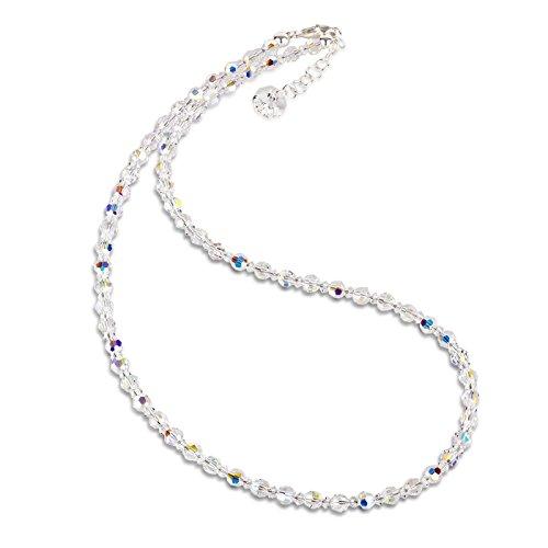 Schöner-SD, Halskette aus 4mm Swarovski® Kristallperlen, Farbe: Crystal Aurora Boreale, Verschluss 925 Silber