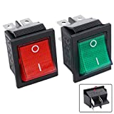 Twidec/2Pcs AC 20A 125V 15A 250V DPST 4 Pins 2 Position ON/Off Green and Red LED Light Illuminated Boat Rocker Switch Toggle(Quality Assurance for 1 Years)KCD2-201N-RG