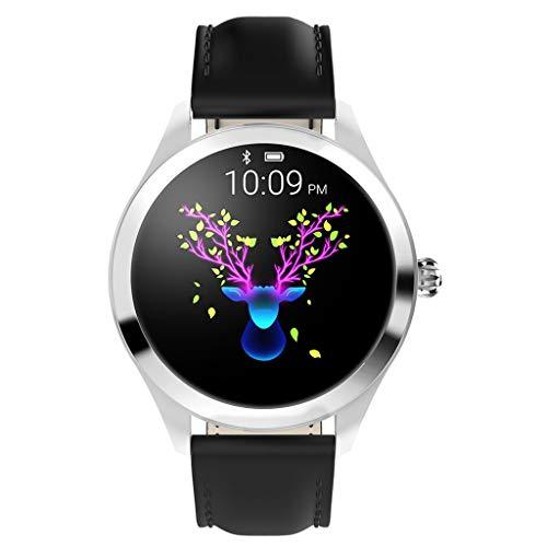 CUEYU Smart Watch KW10,Runder Touchscreen IP68 wasserdichte Smartwatch für Frauen, Fitness Tracker mit Herzfrequenz- und Schlaf-Pedometer,Armband Für IOS/Android (Schwarz)