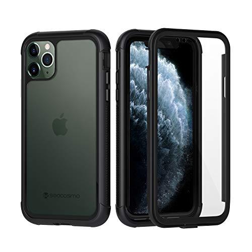 seacosmo Cover iPhone 11 PRO, 360 Gradi Rugged iPhone 11 PRO Case Antiurto Trasparente Custodia con Protezione Integrata dello Schermo, Nero