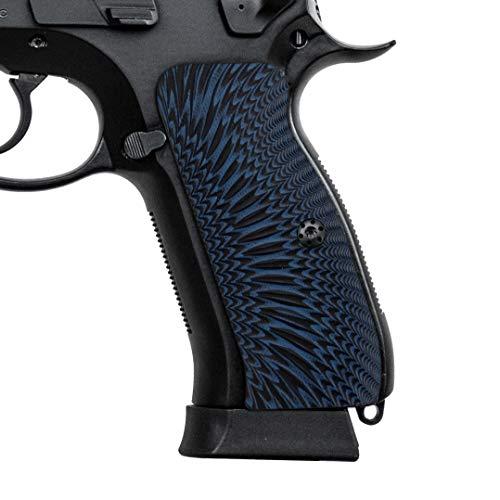 Cool Hand G10 Grips for CZ 75 Full Size, Sunburst Texture, Brand, Blue/Black, H6-J6-8