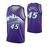 Donovan Mitchell - Jazz Team # 45 Jersey - Basketball Wear Men and Women Adult Basketball Sportswear Sleeveless T-Shirt Vest Summer Top 1 Piece, Stitched Letters (A,XXL)