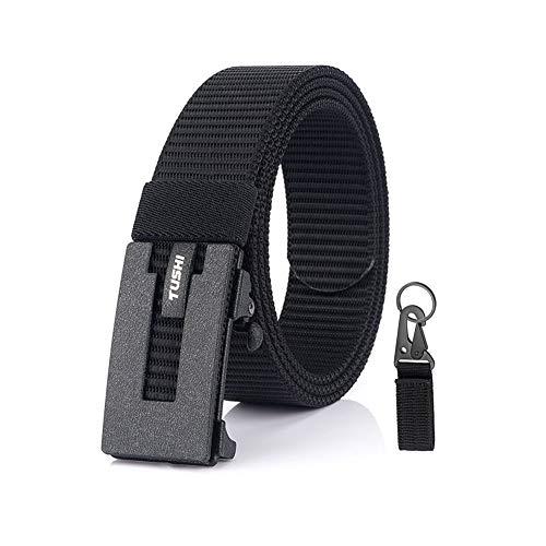 Cinturón de nylon para hombre, hebilla automática de metal, cinturón de nylon de lona de moda casual