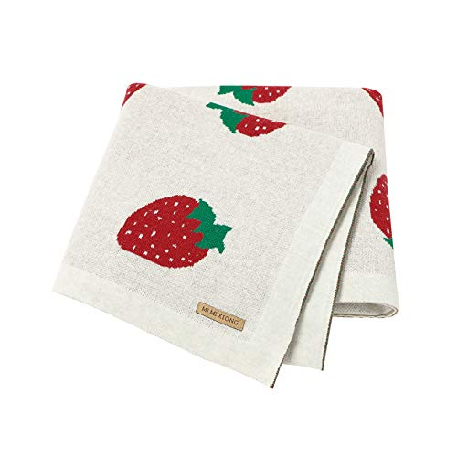 Manta de algodón para bebé para moisés, cesta de viaje, cuna de ganchillo, manta de punto para bebé ligera y transpirable, 100 x 80 cm