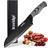 Bravedge Kitchen Knife Chef Cooking Knife Versatile Santoku Knife with 7' Sharp Stainless Steel Metallic Paint...