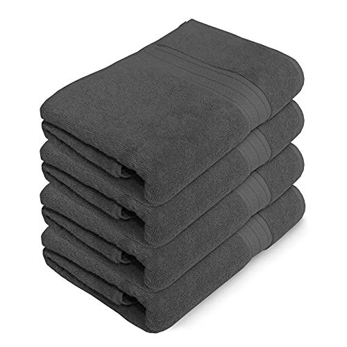 Juego de 4 toallas de baño de carbón de leña | 100% algodón grande toallas de baño (tamaño: 75 x 150 cm)