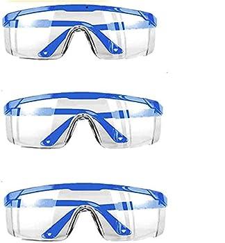 Safety Goggles,3 PACK Over Glasses Eyes Protection Goggles Protective Eyewear Safety Goggles Clear Anti-fog/Anti-Scratch Safety Glasses over Prescription Glasses Transparent Frame Blue Color