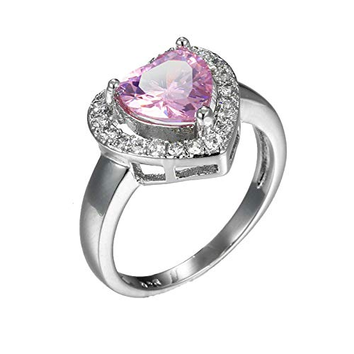 KnBob Women Girls Elegant Ring Heart Shape Pink Cubic Zirconia Ring Silver Plated Size N 1/2