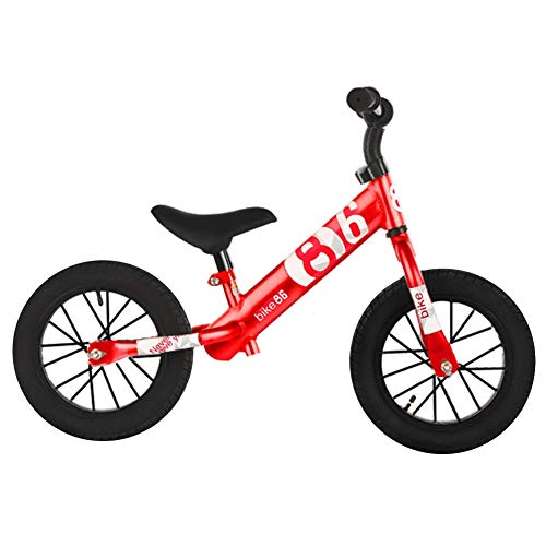 LXLA Balance Bike for Toddlers/Kids - No Pedal Strider Training Bicycle for 18 Months, 1, 2, 3, 4 Years Old - with Adjustable Seat Height, Air Rubber Tire (Color : Red)