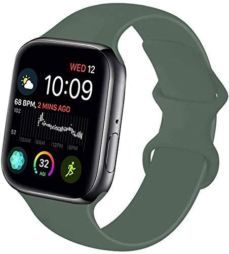 VIKATech Compatible Cinturino per Apple Watch Cinturino 44mm 42mm, Cinturino Morbido di Ricambio in Silicone per iWatch Series 5/4/3/2/1, S/M, Pinegreen