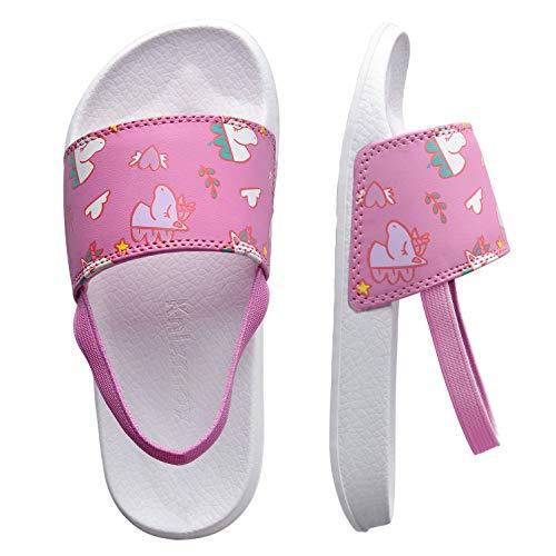 Knixmax - Chanclas para Niños y Niñas, Zapatos de Playa y Piscina para Unisex Niñas Sandalias de Punta Descubierta Ducha y Baño Chanclas Antideslizante, K-Rosa-25