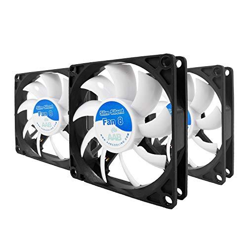 AABCOOLING Slim Silent Fan 8 - Un Silencioso y Muy Efectivo Ventilador 80mm | Fan PC | Ventilador Laptop | Ventilador 8cm | Fan Cooler | 27,45 m3/h | 1600 RPM - Conjunto de 3 Piezas