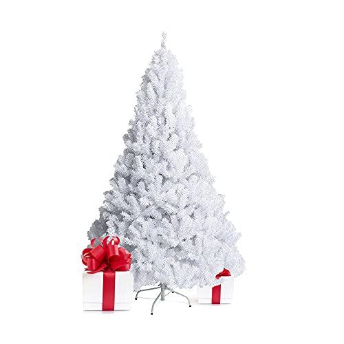 Bravo Home - Árbol de Navidad Artificial Blanco(60 – 240 cm), con Soporte metálico, Material PVC, fácil de Montar, Ideal para casa, Oficina, magas, hoteles (240 cm)