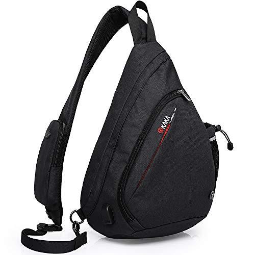 KAKA Sling Bag, Crossbody Backpack Canvas Waterproof Daypack Casual Shoulder Bag Traveling Hiking Camping for Men and Women (Larger one)…