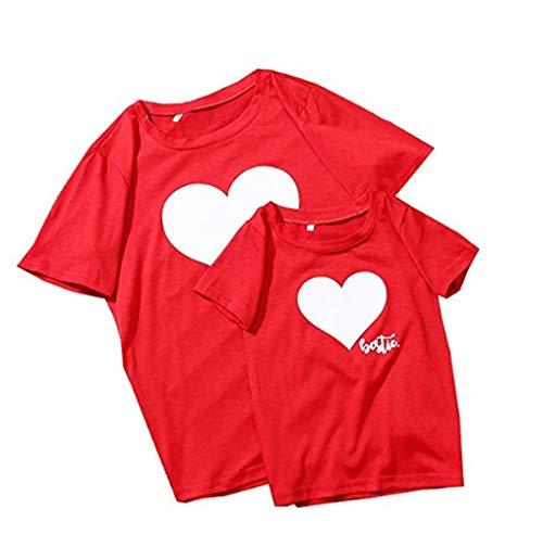 Mama Kind Tops, Partnerlook Familie Crop Top Damen Shirts Mädchen Oberteile Kleider Mutter Tochter Festlich Familien Kleidung Matching Sommer Outfits Mother Daughter (rot, Tochter S)