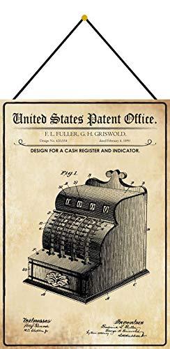 FS Patent Entwurf für eine Registerkasse Blechschild Schild gewölbt Metal Sign 20 x 30 cm mit Kordel