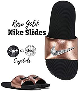 c78cb6889 Women s NIKE Kawa SLIDES with Swarovski Crystals Rose Gold Blinged Out  Bedazzled Slip On Sandal Shoes