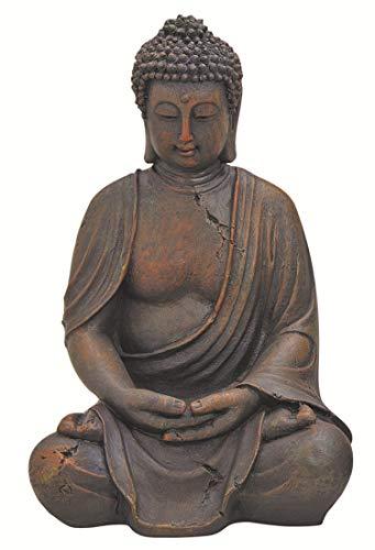 WOMA Deko Buddha Figur Garten Sitzend aus Wetterfestem Polyresin, Dekoration für Haus, Wohnung und Garten, 38cm hoch, Skulptur für Innen und Außen, Braun