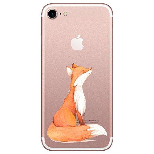 Caler Kompatibel mit/Ersatz für Hülle iPhone SE 2020 iPhone 8/iPhone 7 Hülle Weiche Flexible Silikon Handy Transparente Ultra Slim Gel TPU dünne stoßfeste Tasche Etui Schutzhülle Case Cover (Fuchs)