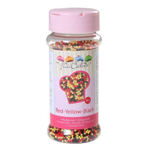 Mini perles en sucre rouge jaune noir - FunCakes