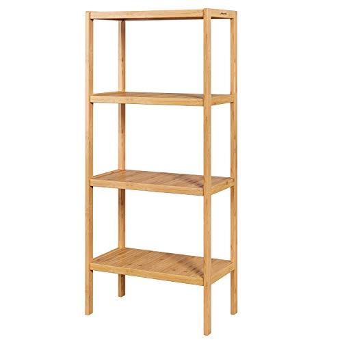 Homfa Estantería Bambú para Baño Bastidores para Plantas Estantería Almacenaje para Salón Cocina de 4 Niveles 52.7x26x115cm