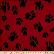 Newcastle Fabrics Polar Fleece Big Paw Red Fabric By The Yard