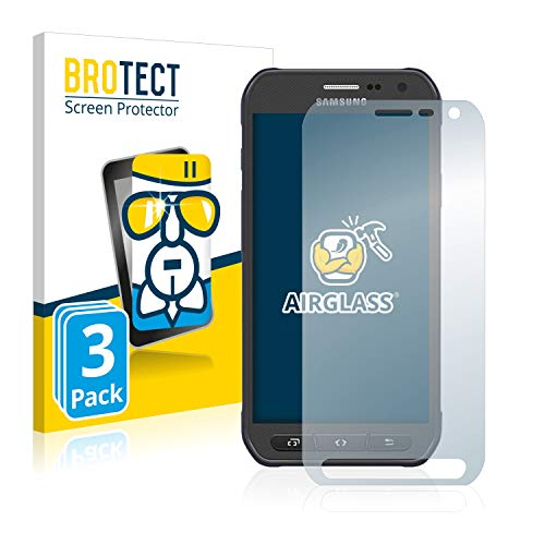 BROTECT Panzerglas Schutzfolie kompatibel mit Samsung Galaxy S6 Active SM-G890A (3 Stück) - AirGlass, 9H Härte, Anti-Fingerprint, HD-Clear