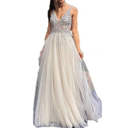 GWEI Damen Rückenfrei Spitze Tüll Abendkleid Lang Ballkleid Hochzeit Brautjungfernkleid mit Träger (Foto Farbe, XL)