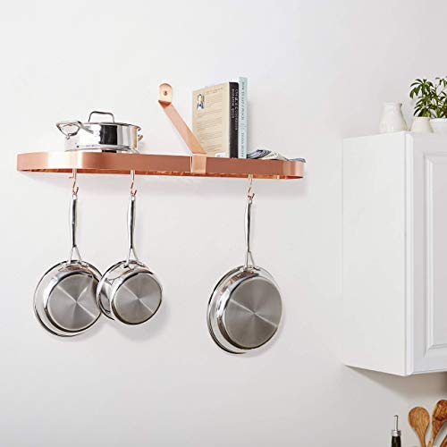 Old Dutch Wall-Mount Pot Rack with Grid & 12 Hooks, Satin Copper, 36' x 9' x 10.75'