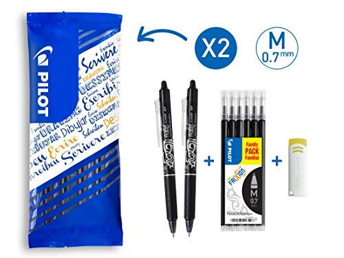 PILOT FriXion Clicker, radierbarer Tintenroller, 9er Set (2 schwarze FriXion Clicker + 6 Ersatzminen + FriXion Radierer)