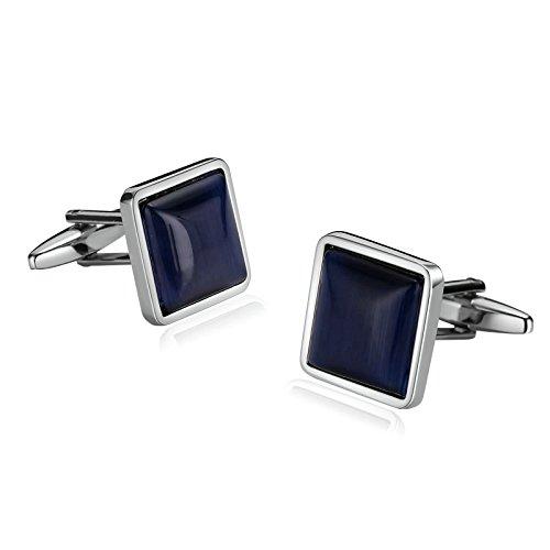 SonMo 1 Paar Manschettenknopf Hemd Herren Edelstahl Manschettenknöpfe Herren Lustig Quadrat Geschenk für Männer Silber Blau 1.7×1.7 cm mit Geschenkbox