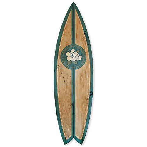Planche de Surf Alu Décorative Effet Bois Motif Hawaï 145 x 40 cm (Bleu)