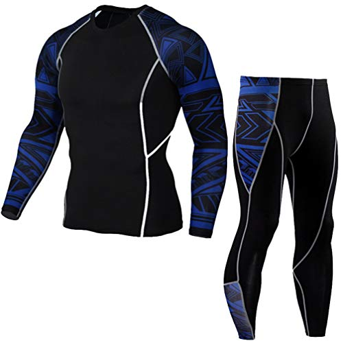 RYG.UY Mens Compression Running Jogging Suits Set Sports Clothes Long Sleeve T Shirt + Pants Gym Fitness Workout Skin Tights Clothing Photo Color4 4XL