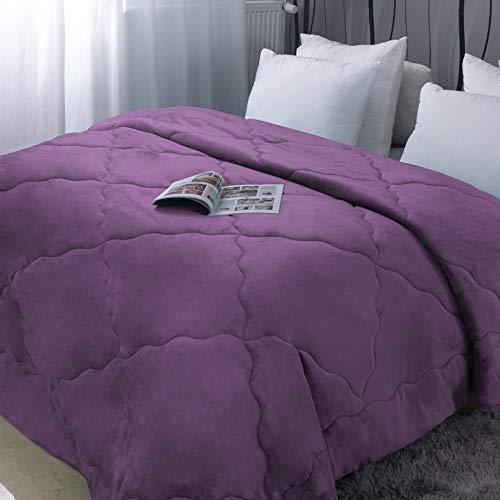 Steppdecke, 220 x 240 cm, dick, Winter, Flanell, Violett, 250 g/m², Fleece, weich, warm, Steppdecke, für 2 Personen