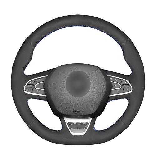 Cubierta Negra Cosida a Mano para Volante de Coche, para Renault Kadjar 2015-2019, para Koleos 2017-2019, para Megane 2016-2019
