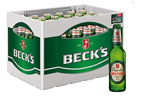 BECK'S Unfiltered Flaschenbier, MEHRWEG (24 x 0.33 l) im Kasten, Unfiltriertes Pils Bier