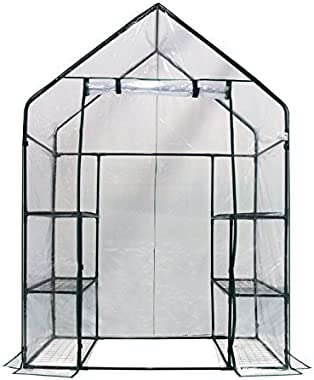 "Homewell Walk-in Greenhouse 3 Tiers 6 Shelves, 56"" W x 29"" D x 77"" H"