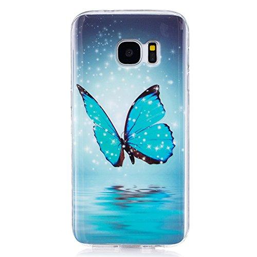 ISAKEN Kompatibel mit Galaxy S7 Hülle, Slim Weiche TPU Silikon Glow im Dunkel Nacht Leuchtende Luminous Rückseite Back Hülle Tasche Etui Schutzhülle Hülle für Samsung Galaxy S7 - Schmetterling Blau