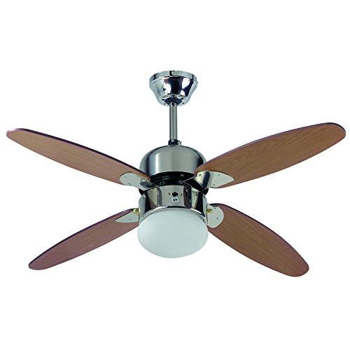 Farelek 112425 Ventilatore da Soffitto, Metallo, Rovere e Cromo