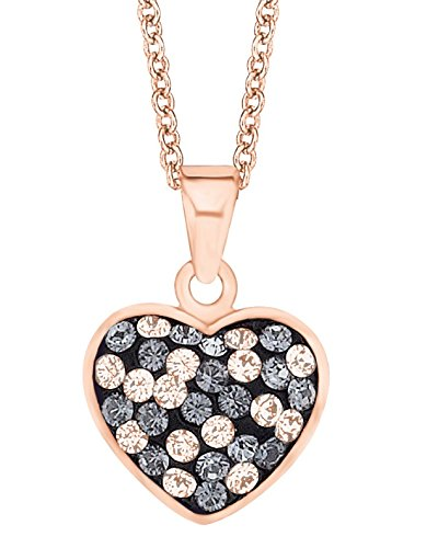 Noelani Damen Kette längenverstellbar mit Anhänger Herz rosévergoldet veredelt mit Swarovski Kristallen 42+3 cm