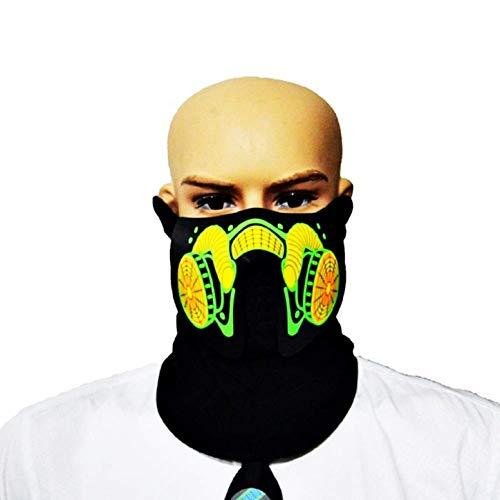 KIRALOVE Leuchtmaske - Gesicht das mit der Stimme leuchtet - Motorradfahrer - Sport - verkleidung - Cosplay - Weihnachts - und Geburtstagsgeschenk Idee Cosplay