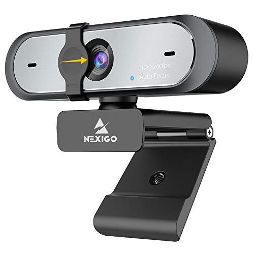 NexiGo 2021 1080P 60fps Webcam mit Dual-Mikrofon & Privatsphäre, Autofokus, integrierte Dual-Rauschunterdrückungs-Mikrofone für Videoanrufe, Laptop, Computer, Webcam für Zoom YouTube Skype