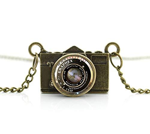 Llegó DIY Bronce Cámara Colgante Foto Joyería Vidrio Fotógrafo Collar De Cámara Antigua Colgante