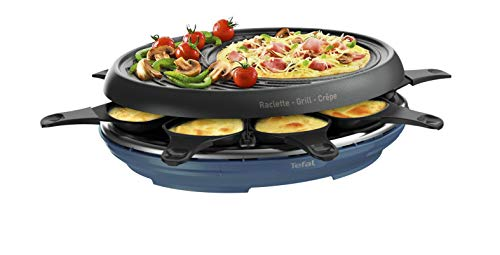 Tefal Raclette Colormania 3 in 1 Raclette-Gerät Grill und Crêpe-Antihaftbeschichtung, Easy Plus, 8 Schalen, spülmaschinenfest, 1050 W, blau Stahl RE310401