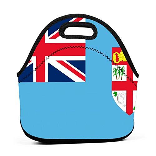 Lunchpaket Flagge Der Fidschi-Inseln Blau Lunchtasche Isolierte Picknicktasche Für Unterwegs Erwachsene Frauen