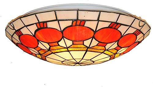 Moderne Tiffany stijl plafondlamp, 15,7 inch handgemaakte kleurrijke lantaarn ontwerp patroon Flush Mount verlichting armatuur, voor eetkamer, woonkamer, restaurant en koffiehuis