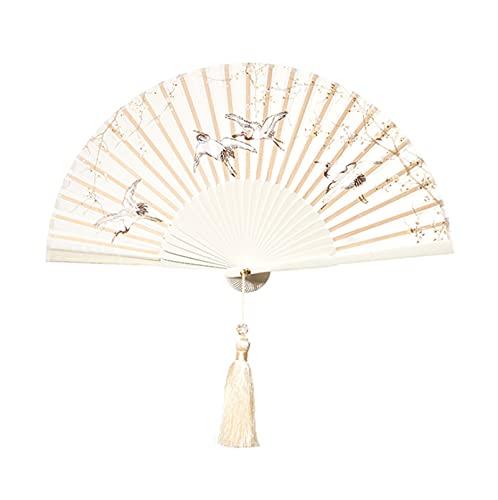 Crane Estilo Antiguo Plegable Ventilador Estilo Chino Hanfu Fan Ventilador Cultural y Creativo Danza Fiesta de Boda de Danza sosteniendo un Fan sólido (Color : Purple)