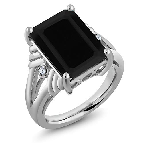 Gem Stone King Black Onyx & White Created Sapphire Gemstone 925 Sterling Silver Women's Ring (7.39 Cttw Emerald Cut) (Size 7)