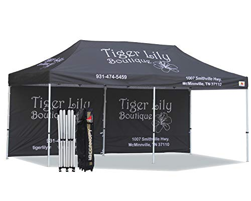 ABCCANOPY Custom Made 10x20 Ez Pop up Canopy Custom Graphics Tent with 1 Back Wall Bouns 4X Weight Bag